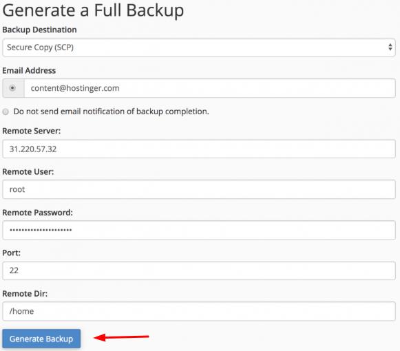 configuração para gerar backup completo na vps