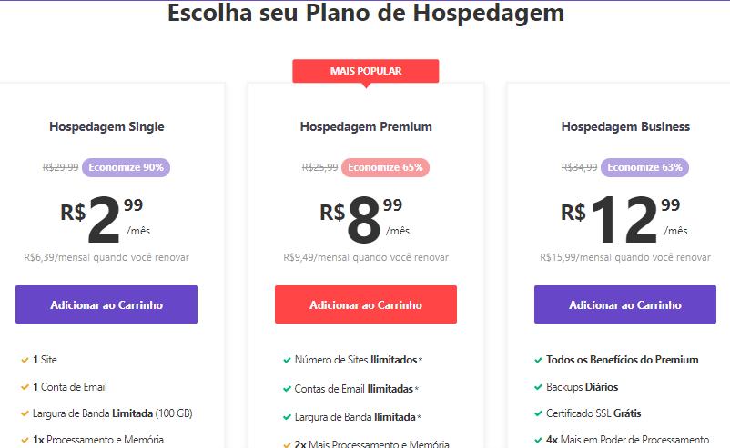 preços dos planos de hospedagem compartilhada da Hostinger