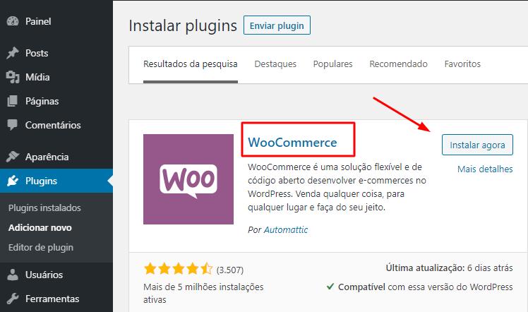instalar plugin WooCommerce no WordPress