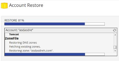 progresso da restauração do backup completo