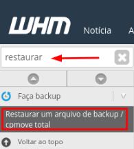 restaurar arquivo de back completo no whm