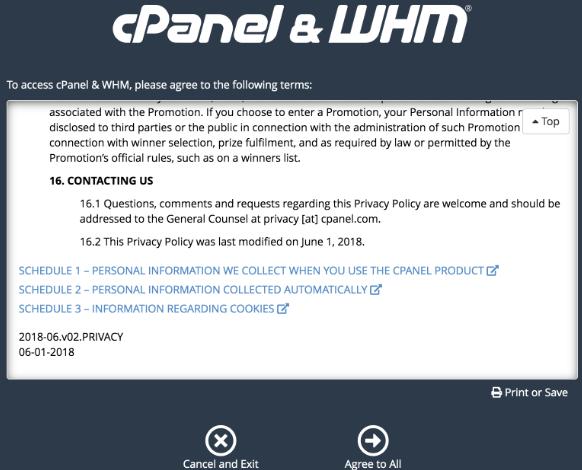 termos e condições de uso do whm no cpanel