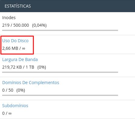 estatísticas de uso de disco no cpanel