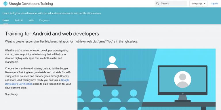 página inicial do Google Developers Training