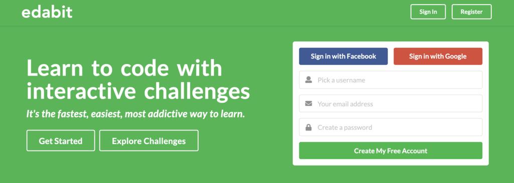 plataforma de cursos online Edabit para aprender sobre programação