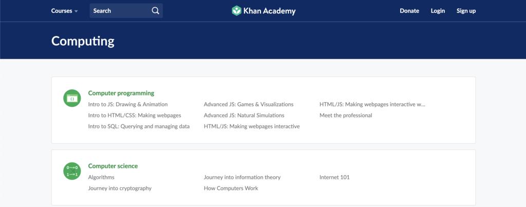 khan academy para aprender a como programar