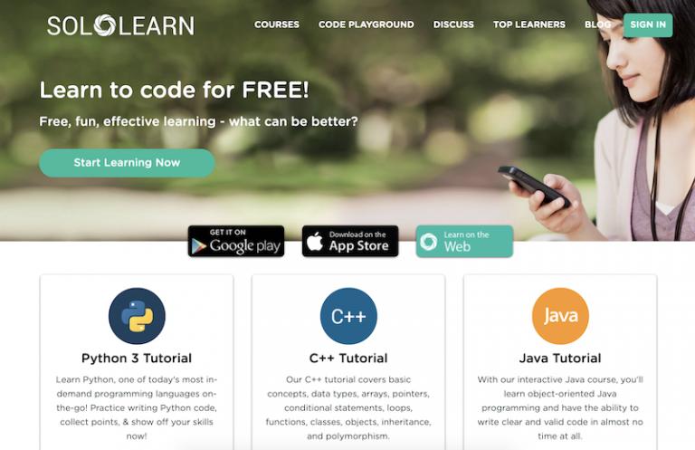 página de abertura da plataforma Solo Learn