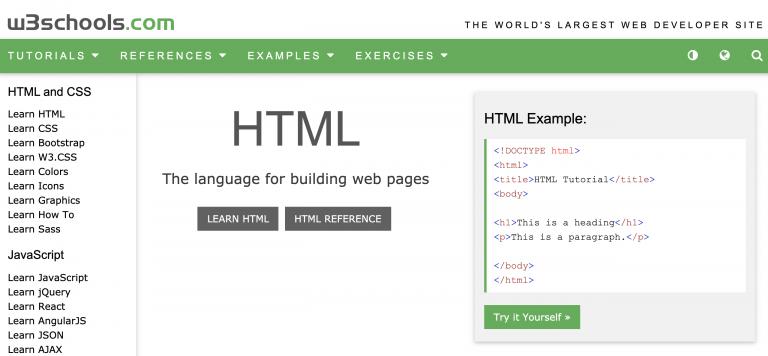 página inicial da plataforma W3Schools para aprender sobre programação