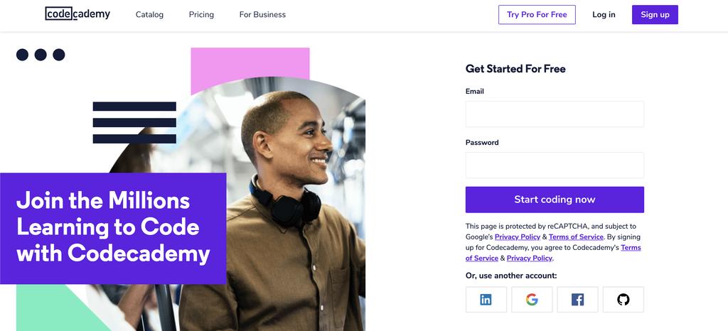 página inicial da plataforma Code Academy