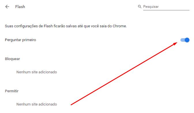 tela para desativar plugins chrome