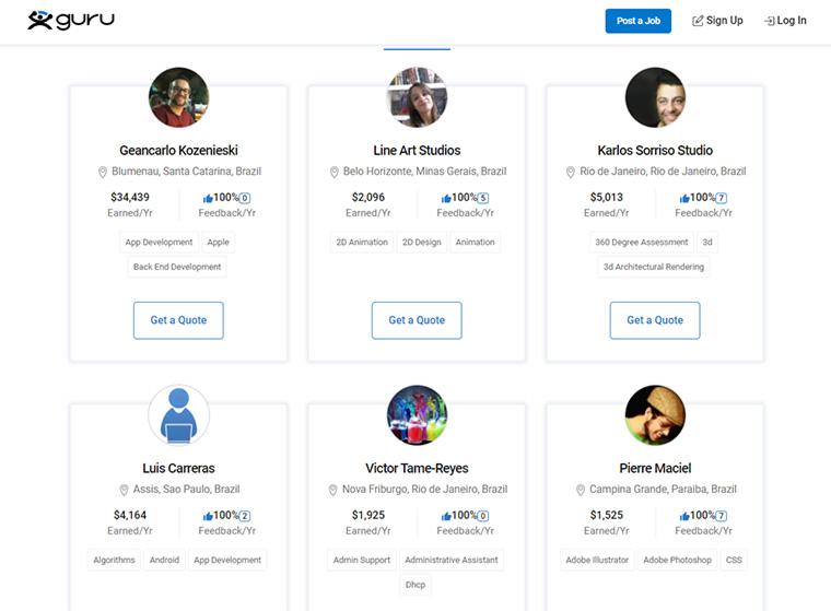 site guru para freelancers