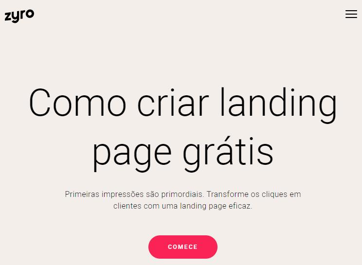 página do zyro de como criar uma landing page