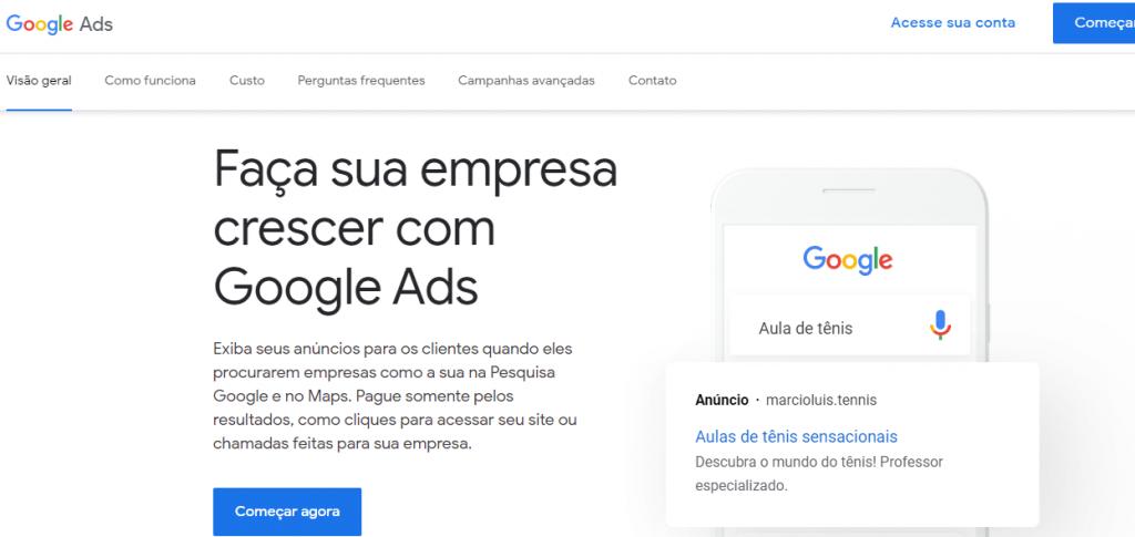 páginal inicial do Google Ads para fazer campanhas de remarketing