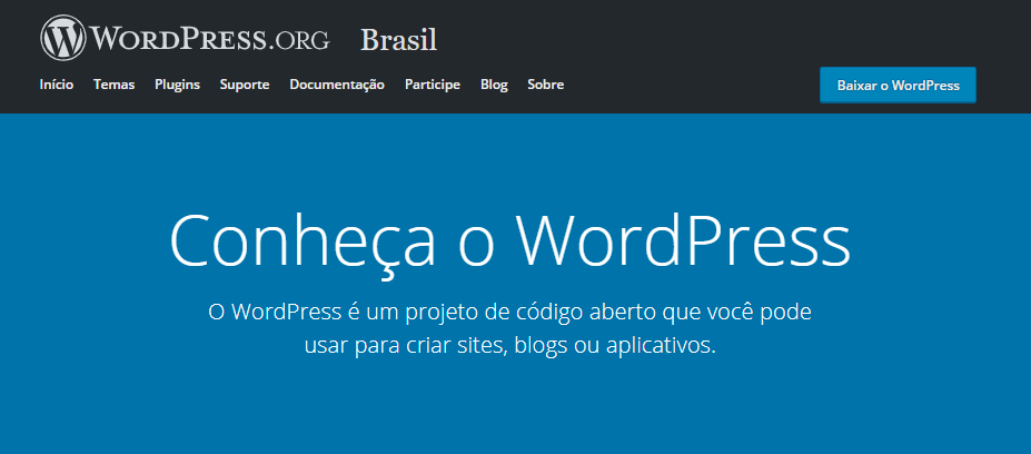 página inicial do WordPress.org no Brasil