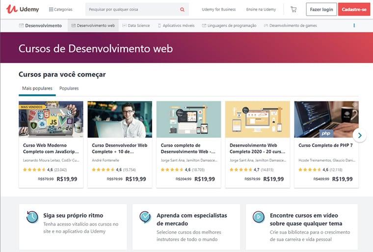 página de cursos de desenvolvimento web da udemy