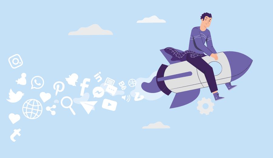 homem no topo de um foguete espalhando fumaça com símbolos e redes sociais