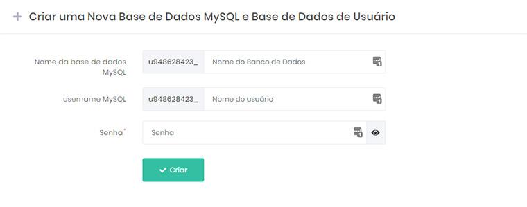 tela de criação de base de dados mysql na hostinger