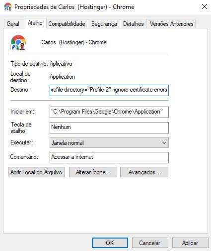 chrome ignorar erros de certificado
