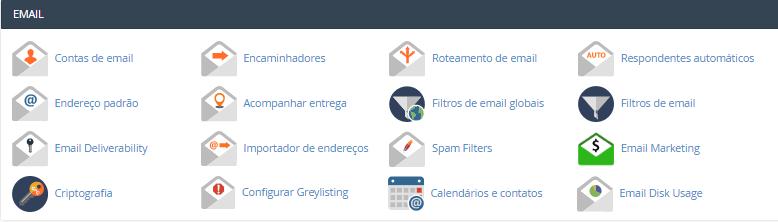 seção de emails no painel de controle cpanel