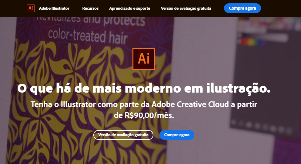 página do Adobe Illustrator no Brasil