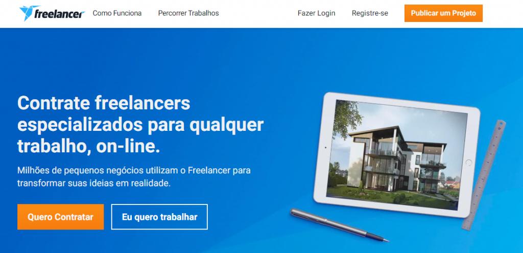 página do site Freelancer para trabalhar de casa