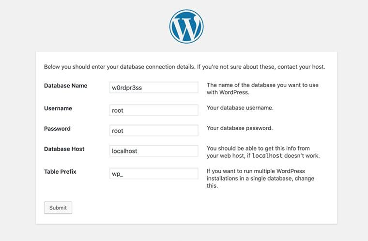 instalador localhost wordpress