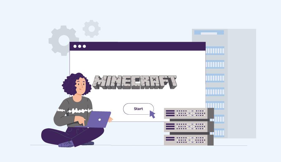 mulher mexe no notebook e configura servidor Minecraft com a Hostinger