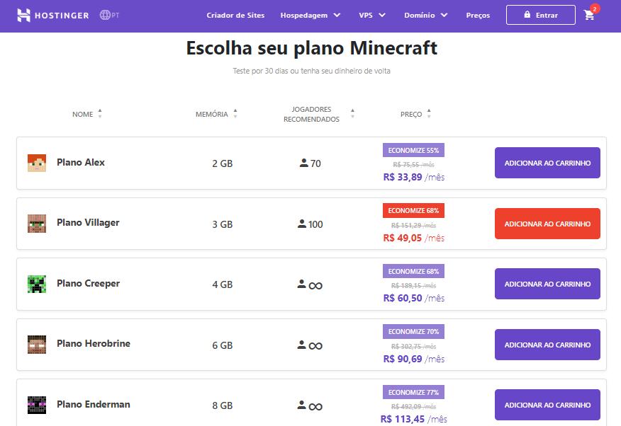 preços dos planos de servidores Minecraft da Hostinger