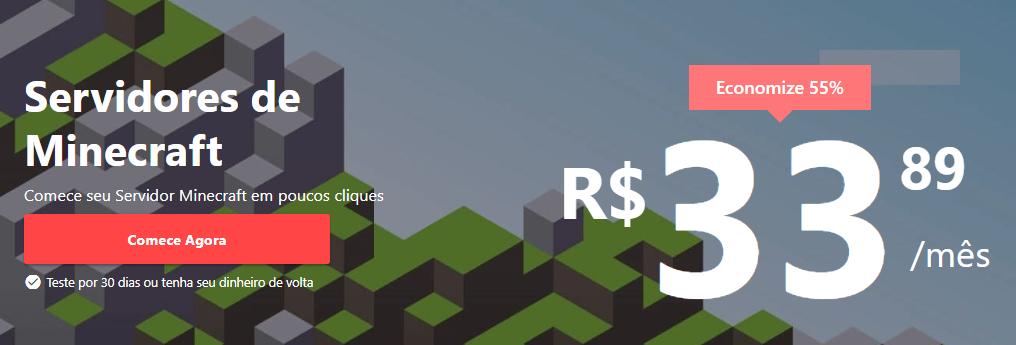 página de servidores Minecraft da Hostinger com preço