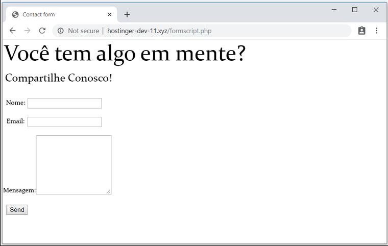 resultado do formulario de phpmailer para enviar email php