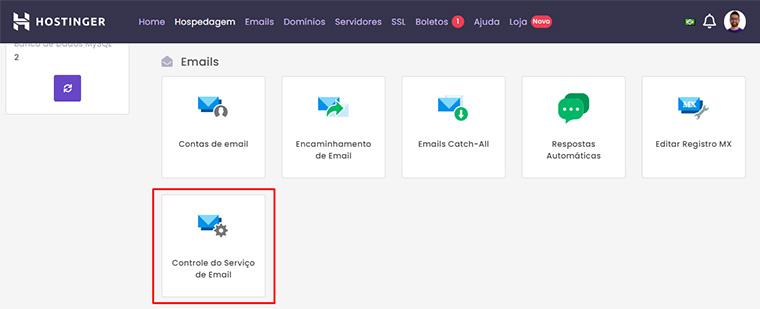 controle do serviço de email dentro do hpanel da hostinger
