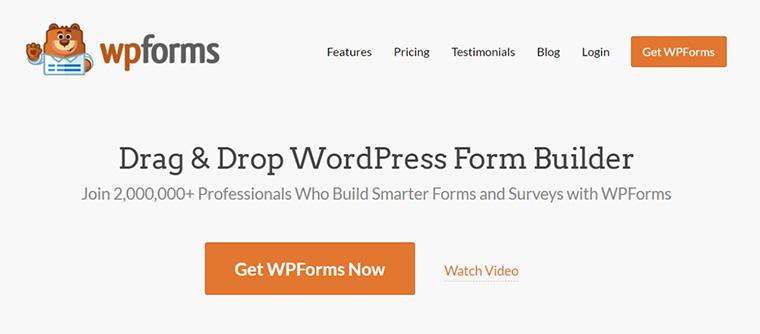 página inicial do site do plugin wpforms para enviar email php