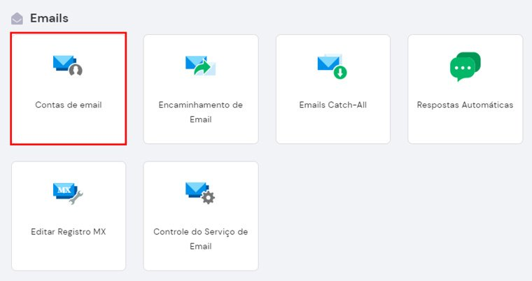 contas de email no hpanel da hostinger
