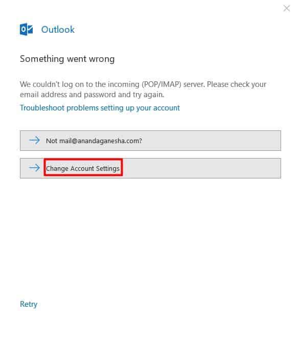 botão de mudar configurações de conta no Outlook 2016