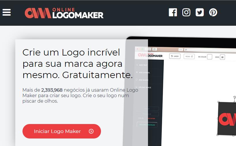 página inicial do criador de logos online Logo Makert