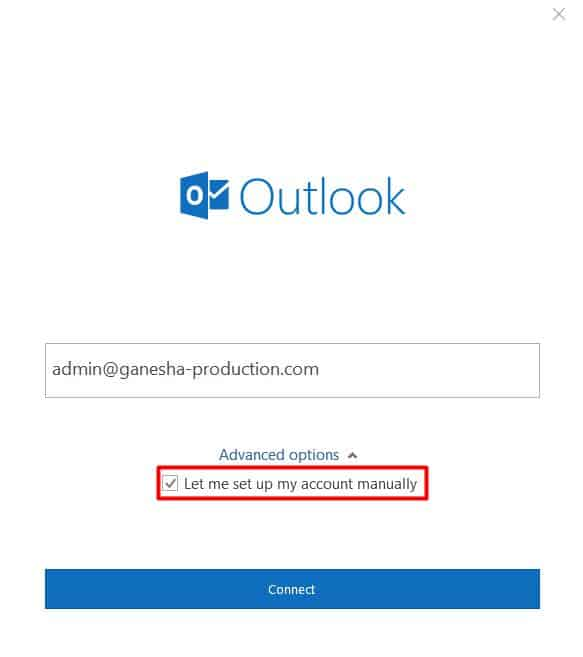 tela de login do outlook 2016