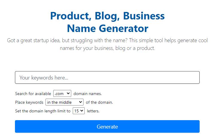página inicial do Cool Name Ideas