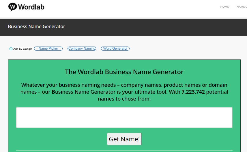 página inicial do gerador de nomes Wordlab