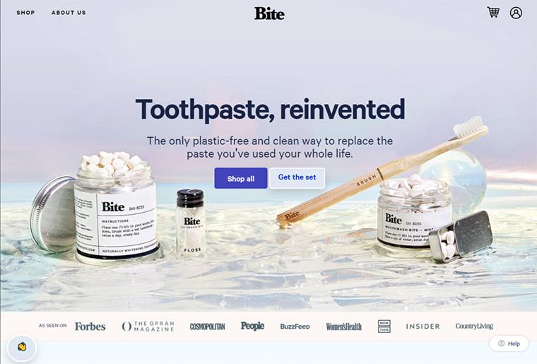 exemplos de ecommerce bite toothpaste