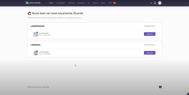 configuração de domínio na hostinger