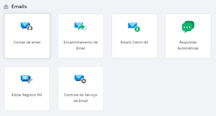 seção de emails no hpanel da hostinger