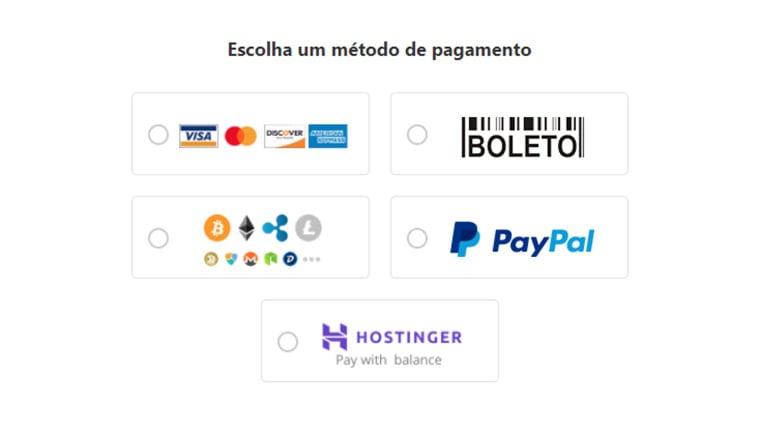 métodos de pagamento da hostinger