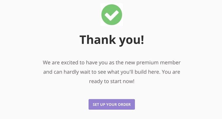 tela de agradecimento por compra de domínio na hostinger