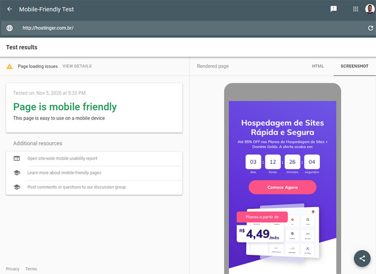 ferramenta de testes mobile-friendly da google