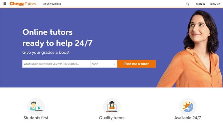 site oficial do cheggtutors, uma das ideias de pequenos negócios
