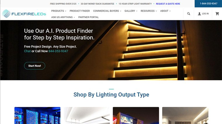 exemplo de e-commerce flexfire leds