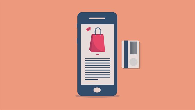 desenho de um celular com um cartão de crédito do lado