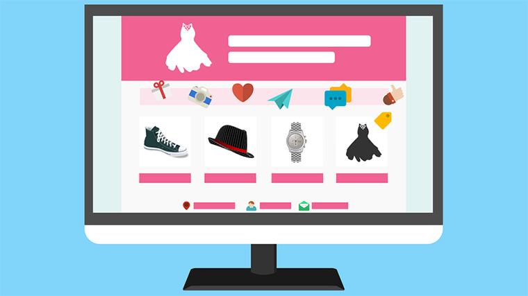 imagem de uma loja virtual numa tela de computador