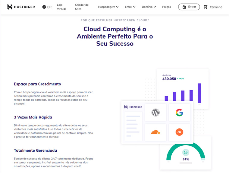 site oficial do plano cloud da hostinger