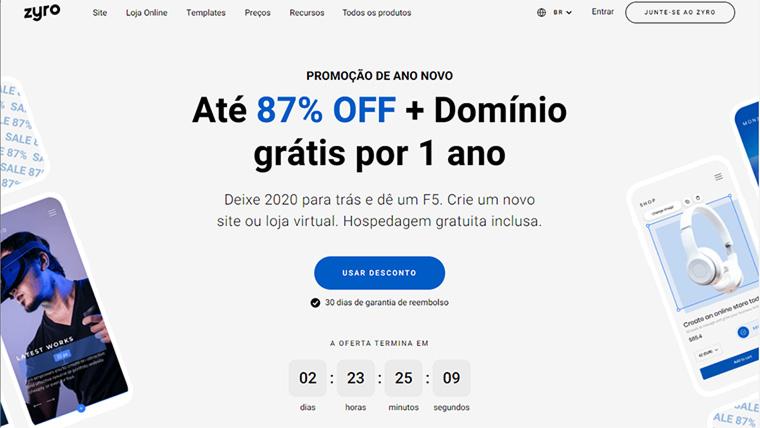 página inicial do zyro da hostinger